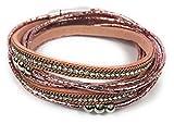Elegantes Wickelarmband mit komfortablem Magnetverschluss im Metallic-Look Damen Arm-Kettchen bracelet Perlen Strass Glitzer pink rosa