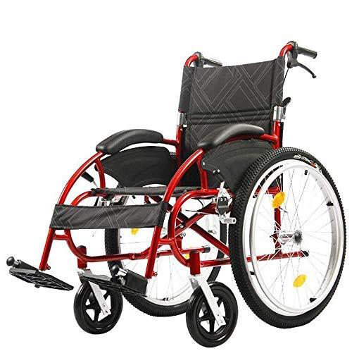 KANJJ-YU Sillas de ruedas deportiva 13Kg portátil plegable ergonómico avanzado cómodo apoyabrazos oscilación de la carga de apoyo 46 × 48cm Asiento Reposapiernas 115kg, deportes al aire libre Yt Plega