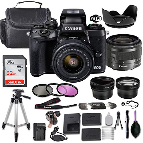 Canon EOS M5 Mirrorless Digital Camera w/EF-M 15-45mm f/3.5-6.3 is STM + Wide-Angle and Telephoto Lenses + Portable Tripod + Memory Card + Deluxe Accessory Bundle
