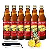 Rabenhorst Saft Ananas 6x 700ml Vegan Ananassaft mit Fruchtfleisch - Direktsaft - Fruchtgehalt: 100% Premiumqualität PLUS fooodz-Trinkhalm Set mit Reinigungsbürste