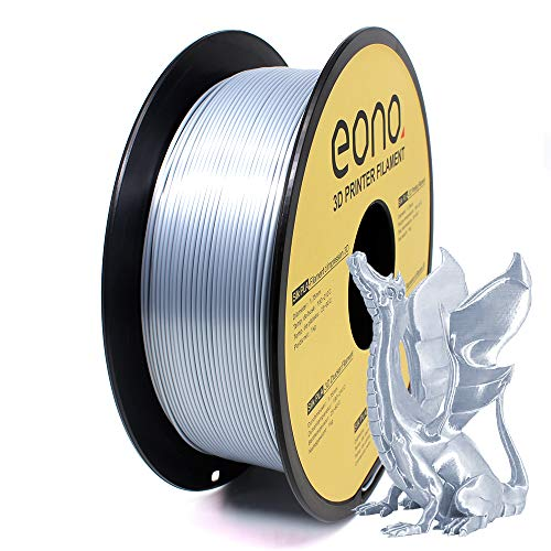 Amazon Brand - Eono Silk PLA 3D Printer Filament, 1.75mm, 1kg, Silver color,Easy to Get Shinning & Smooth Surface like Silk, Good for Decorative Printing Models.