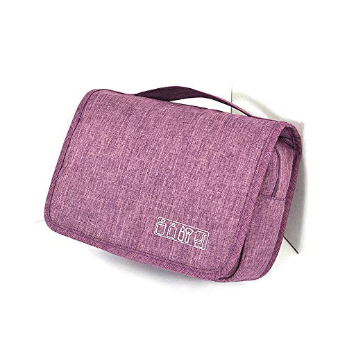 Travel Hanging Large Toiletry Bag - Men and Women Travel Storage Make up Wash Bag, Cosmetic Waterproof Toiletries Bag for Business Trip,Gym,Vacation and Household (Purple)