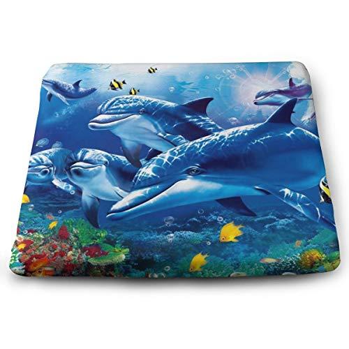 Memory Foam Pad zitkussen. Autostoel Kussens om hoogte te verhogen - bureaustoel Comfort Kussen - Blue Sea World Coral Dolphin