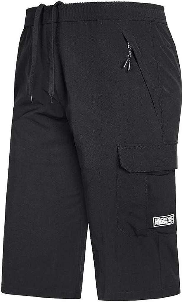 DIOMOR Mens Outdoor Plus Size Zipper Multi-Pocket Beach Shorts Below Knee Elastic Waist Long Swim Trunks Capri Quick Dry