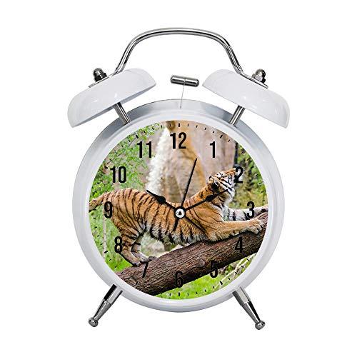 PGTASK kinderwekker retro stijl wijzer bewaakt sterke nachtkastjes van de wekker lichthuisdecoratie tijger, die overdag uitzet via de bruinstam