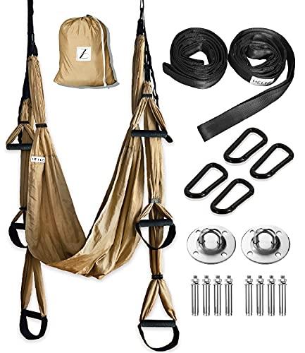 HELIZ Columpio de Yoga Aéreo & Fitness   Juego Completo   Mosquetones de Bordes Lisos   Hamaca Yoga Aéreo para Hogar, Gimnasio, al Aire Libre (Marrón Dorado)