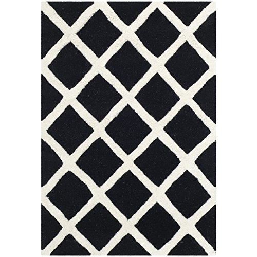 Safavieh Chatham Collection CHT718K Handmade Black and Ivory Premium Wool Area Rug (2' x 3')