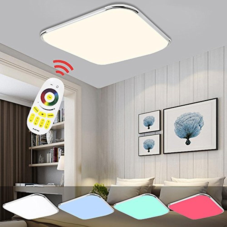 Hengda LED Deckenleuchte RGB Mit Fernbedienung Lichtfarbe und Helligkeit einstellbar Moderne Esszimmer Deckenbeleuchtung Badezimmer geeignet [Energieklasse A++] (64W RGB)