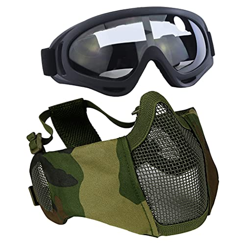 Aoutacc Airsoft - Juego de máscaras de malla de media cara con protección para los oídos y gafas para CS/caza/paintball/tiro (camuflaje)