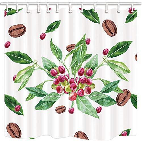 LRSJD Tropische planten laat douchegordijn aquarel koffiebonen in groen blad polyester stof badgordijn badkamer douchegordijnen met haken 71X71in