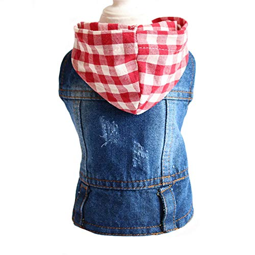 Tengzhi Denim Dog Hoodies Cool Coat for Small Medium and Large Dogs French Bulldog Hooded Sweatshirt Puppy Clothes Dog Vest (XXL, Red Plaid Hat)