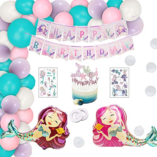 Decoracion cumpleaños sirena,Sirena Papel de Aluminio Globo,Decoracion cumpleaños sirena niña,Decoraciones de fiesta sirenita,Cumpleaños sirena globos,cumpleaños sirena decoracion
