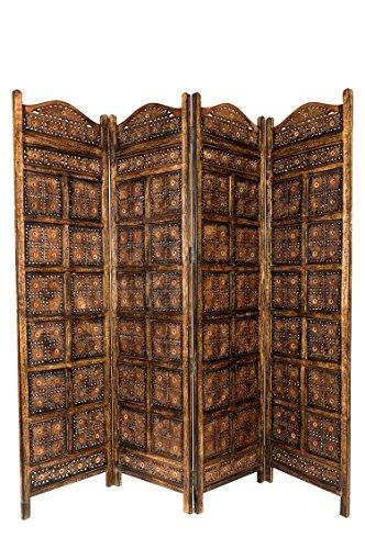 Orientalischer Paravent Raumteiler aus Holz Kamala 200 x 180cm hoch in Braun | Indischer Trennwand als Raumtrenner oder Dekoration im Zimmer oder Sichtschutz im Garten, Terrasse oder Balkon