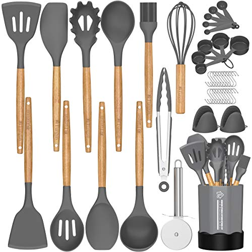 Silicone Cooking Utensil Set, 26 Pcs Kitchen Utensils Cooking Utensils Set by Fungun, Non-stick Heat Resistant Kitchen Gadgets Cookware with Natural...
