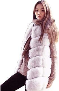 OHQ Moda Donna Felpa con Cappuccio Gilet Gilet Gilet Giacca in Eco-Pelliccia Outwear Cardigan Capispalla Senza Maniche Solido Cappotto Lungo