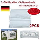 Yiyai Wasserdichter Pavillon Seitenteile UV-Pavillons mit Windows für 3x3m, 3x6m Pavillon Baldachin seitlicher Ersatz Weiß(2Stk)