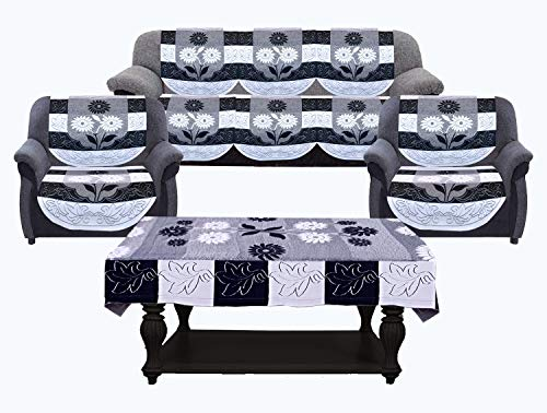 """Kuber Industries Side Flower Cotton 5 Seater Sofa Cover with Center Table Cover, 70"""" x 29"""", 7 Piece, Black and White"""