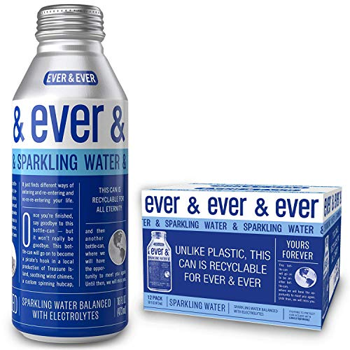 Sparkling Water by [ Ever and Ever ] Aluminum Bottled | Reverse Osmosis Sparkling Water | Bubbly & Balanced with Electrolytes | RECYCLABLE FOR ALL ETERNITY | 16 oz Bottle-Cans (Pack of 12)