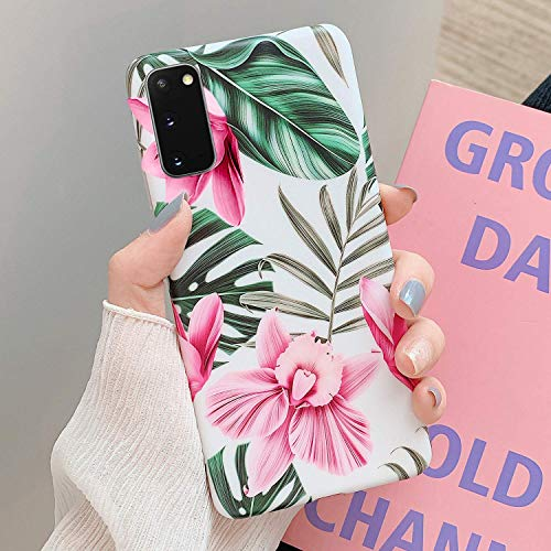 Herbests Kompatibel mit Samsung Galaxy S20 Handyhülle Blumen Blätter Motiv Muster Ultra Dünn TPU Schutzhülle Silikon Handyhülle Stoßfest Antikratz Case Cover Silikon Bumper,Rosa Blumen