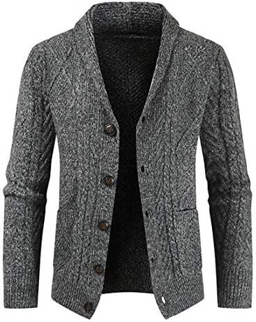 utcoco Men s Slim Fit Chunky Crochet Cable Knit Shawl Collar Button Up Cardigan Sweater with product image