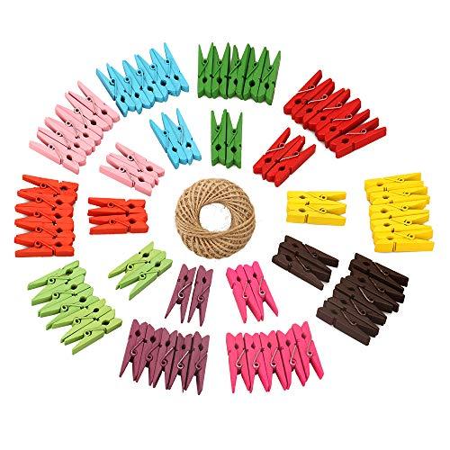 100 Stück Mini Farbig Holz Wäscheklammern, Holzklammern klein für Fotopapier Stöpsel mit 30 m Jute-Schnur(10 Farben)