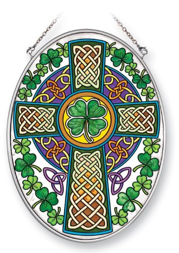 Amia 41353 Celtic Cross 5-1/2 by 7-Inch Oval Sun Catcher, Medium