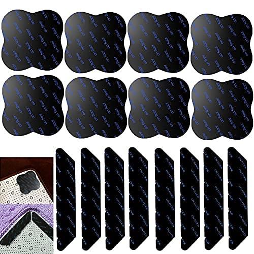 Area Rug Gripper 16 piezas para evitar que se riza y resbale alfombra cinta para alfombras de área en madera dura, antideslizante y lavable