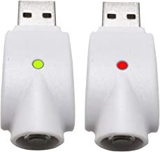 510-Thread USB Smart Charger Over-Charge Protection, Compatible with Standard 510 Threaded Devices (2 Pack) (White)