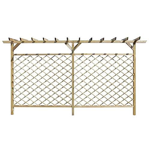 Estink Wooden Panel Garden Fence, Garden Slatted Fence with Wooden Pergola