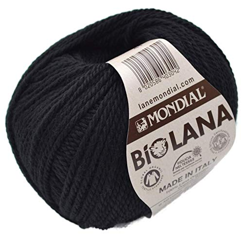 Mondial Wolle BioLana Naturwolle Fb. 200 - schwarz, 50g Biowolle, 100% Reine Schurwolle zum Stricken und Häkeln