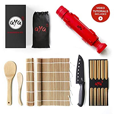Sushi Making Kit - Original AYA Bazooka Kit with Sushi Chef Knife - Online Video Tutorials - All-In-One Bazooka Sushi Maker - 2 Natural Premium Bamboo Mats - Paddle & Spreader - 5 x Chopsticks