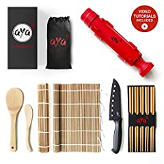 ✔ THE ONLY BAZOOKA KIT THAT INCLUDES A PROFESSIONAL SUSHI CHEF KNIFE! What's missing from other sushi kits? A premium grade sushi knife! The AYA sushi knife is designed with a razor-sharp perforated non-stick blade for ease of use and super clean cut...