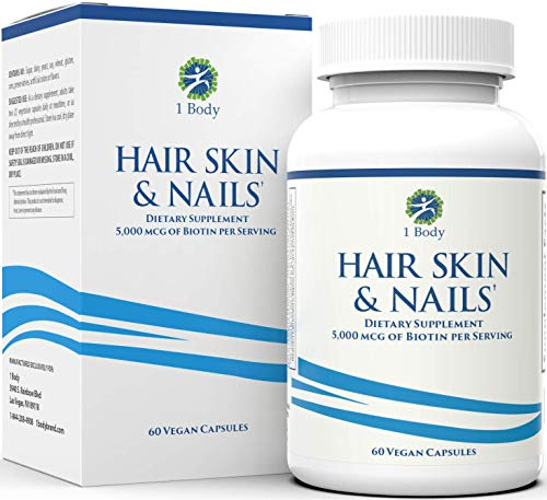 Hair, Skin, and Nails Vitamins – 5000 mcg of Biotin to Make Your Hair Grow and Skin Glow with 25 Other Vitamins - Nail Growth and Skin Care Formula for Men and Women