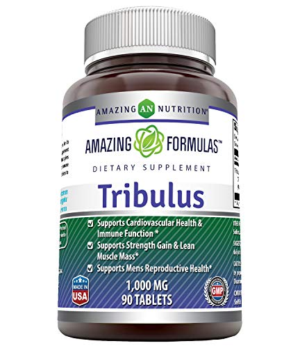 Amazing Formulas Tribulus Terrestris Extract 1000 MG Tablets, 90ct (Non GMO,Gluten Free, Vegan) - Standardized to Contain Min. 45% Steroidal Saponins, Testosterone Booster, for Enhanced Vitality