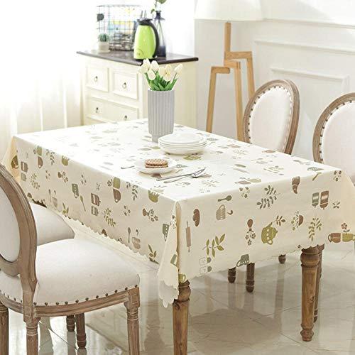RYDRQF - Precioso mantel de cocina rectangular plastificado - Mantel de mesa impermeable de PVC antiaceite e impermeable - Antipolvo - Color beige - De alta calidad - gfs-364