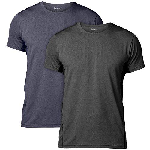 LAPASA T-Shirt Sport Homme Séchage Ultra Rapide Lot de 1/2 Manche Courte Running Musculation Fitness Ultra-Respirant M15 (Lot de 2 (Bleu Anthracite & Noir)*, M (Largeur d'épaules : 43.2 cm))