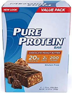 Pure Protein High Protein Bars, Chocolate Peanut Butter, 1.76 Ounce, 6 Count (Pack of 2)