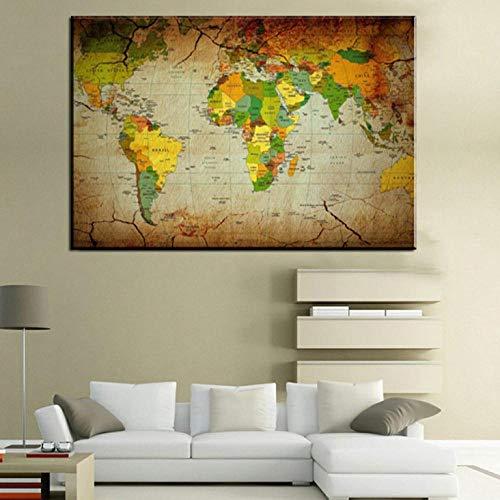 Cuadros Estilo nordico Vintage Retro Map Poster Prints Wall Art World Map Antique Poster Wall Sticker Decoración para el hogar Mapa del Mundo Sin Marco 60x90cm