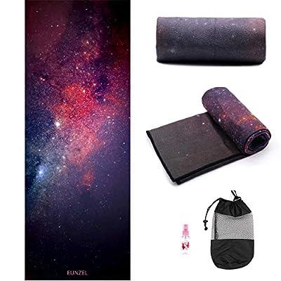 "Eunzel Yoga Towel,Hot Yoga Mat Towel - Sweat Absorbent Non-Slip for Hot Yoga, Pilates and Workout 24"" x72(Grip Dots,Universe)"