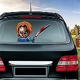 MIYSNEIRN Halloween Rear Wiper Decal Bloody Chucky Waving Arm Wiper Sticker 3D Horror Window attaches to Rear...