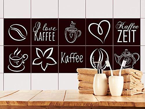 GRAZDesign Fliesenaufkleber glänzende Folie - Fliesenaufkleber Küche Kaffee Motiv - Fliesenfolie Braun - Fliesen überkleben Kaffeezeit / 10x10cm / 770533_10x10_FS10st