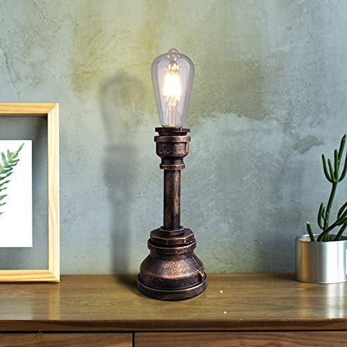 FHUA Lámpara Escritorio Lámpara e27 marrón país Retro Industrial Mesa de Viento lámpara Creativa labrado Hierro de pie lámpara de pie lámpara de Tubo de Agua Sala de Estar lámparas de iluminación