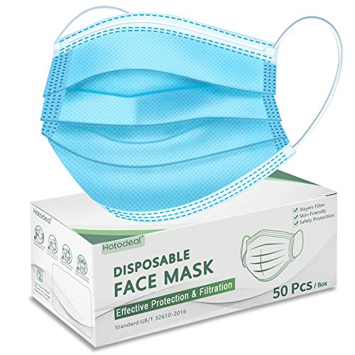 Hotodeal 50 Pcs Disposable Face Masks, Breathable Face Mask 3 Layer Facemask, Lightweight Facial Masks for Adult, Men, Women, Indoor, Outdoor Use