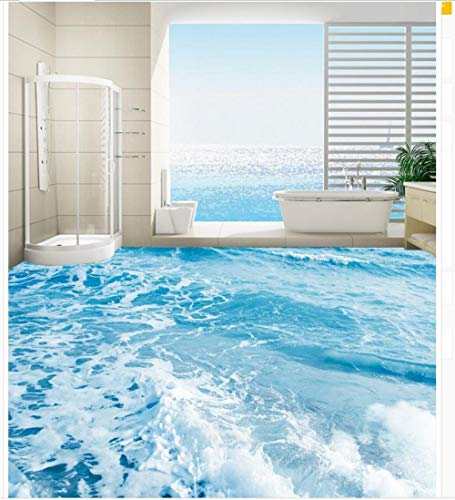 3D-Bodentapeten Meerwasserspray Badezimmerboden Wasserdichter Boden Wandmalerei Selbstklebender 3D-Boden 140x100cm