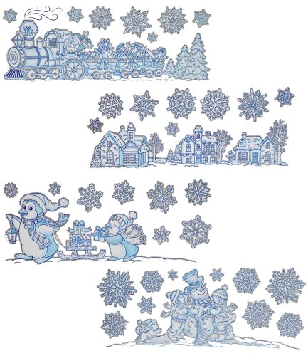 alles-meine.de GmbH 2 Bögen: Fensterbilder Weihnachten - Glitzer Schneeflocken / Winter / Weihnachtsmann - Landschaft - Sticker Fenstersticker Aufkleber - selbstklebend & statisc..