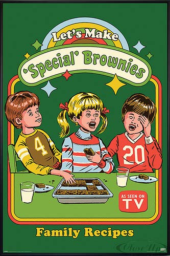 Close Up Steven Rhodes Poster Let's Make Special Brownies (93x62 cm) gerahmt in: Rahmen schwarz