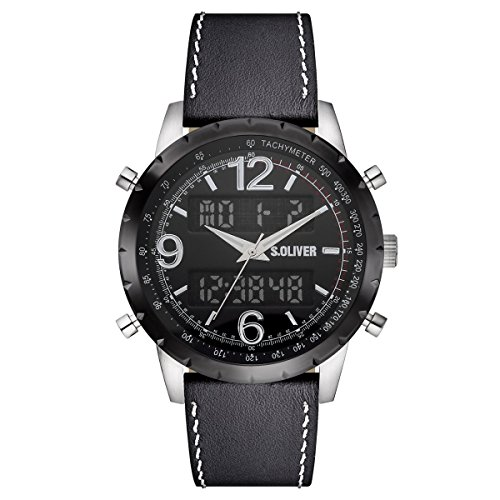 s.Oliver Herren-Armbanduhr Analog Digital Quarz Leder SO-15147-LDR