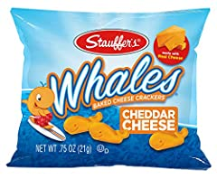 Stauffer's Whale Crackers - Individually packaged cheddar whale cracker snack packs - set of twenty 0.75 ounces each Whales crackers snack packs make a delicious snack option for adults or children - try with your favorite hot beverage or milk Stauff...