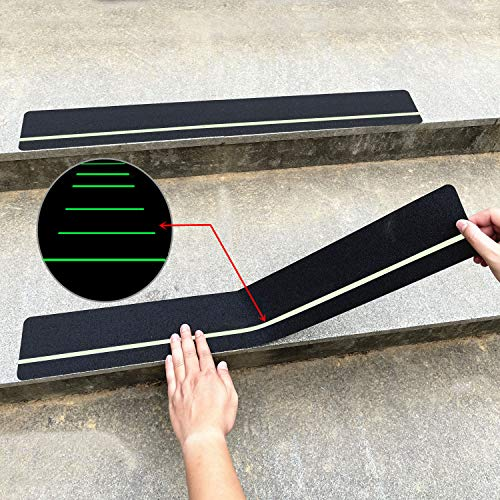30' X 4'(10-Pack) Anti Slip Traction Treads with Glow in The Dark Stripe,Best Grip Tape Non Slip, Outdoor Non Skid Tape, High Traction Friction Abrasive Adhesive for Stairs Step Cosimixo