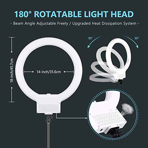 Neewer 18 Zoll weißes LED Ringlicht mit Lichtstativ Set dimmbar 50W 32000-5600K,Blitzschuh Adapter,Handy Halter für Make up,Kamera/Smartphone YouTube Video Aufnahmen Item Title